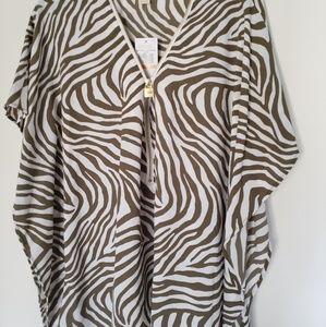 Michael Kors blouse kimono open zipper